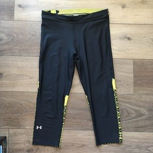 Cropped black and neon under Armour leggings
